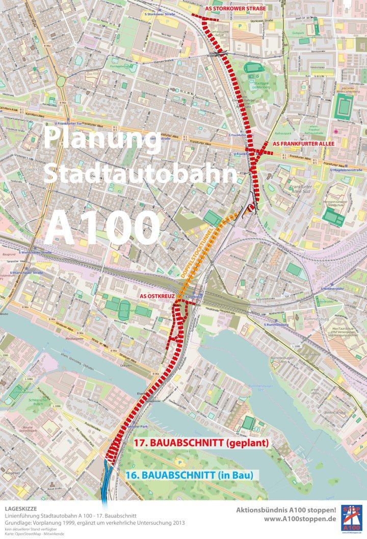 Karte: Planung des 17. Bauabschnitts der Stadtautobahn A100 Treptow-Friedrichshain-Lichtenberg