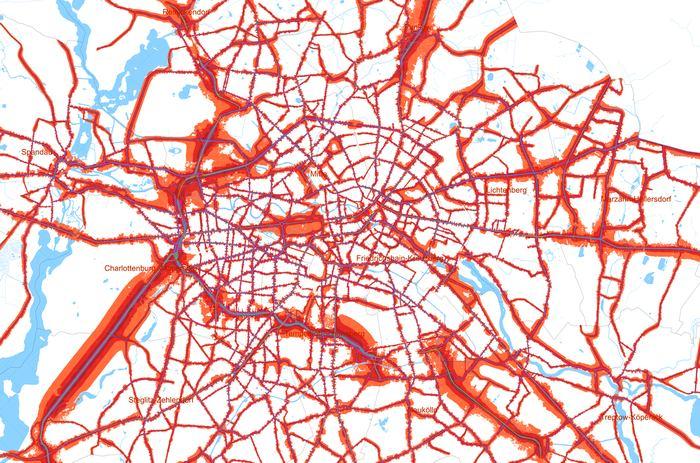 Strategische Lärmkarte LDEN (Tag-Abend-Nacht-Lärmindex) Straßenverkehr 2013 Quelle: Umweltatlas Berlin