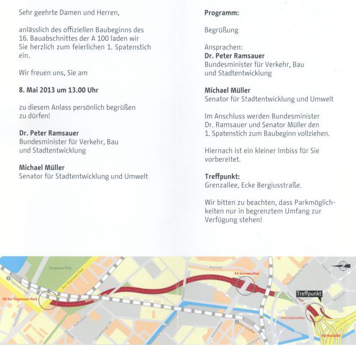 Einladung zum feierlichen 1. Spatenstich Bundesautobahn A100 / 16. Bauabschnitt Neubau vom AD Neukölln zur AS Am Trepotower Park