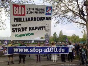 """Transparent zur  Protestaktion """"Wir pfeifen auf die A100″ zum ersten Spatenstich für den Baubeginn der A100 von Berlin-Neukölln nach Treptow"""