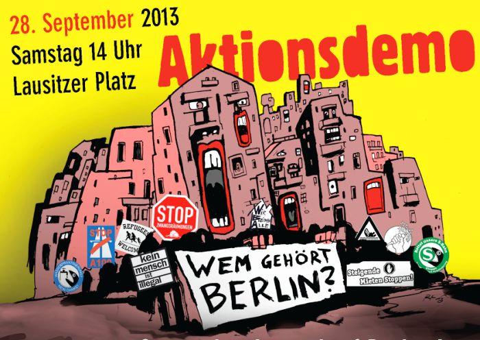 Demonstration Wem gehört Berlin? Gegen den Ausverkauf Berlins!  Für eine Stadtpolitik von unten! am 28. September 2013