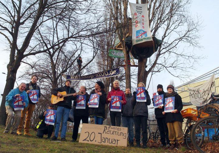 Räumung droht! A100 stoppen! Kundgebung + Baumbesetzung am 20.1.2014 in Berlin-Neukölln