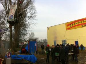 Protest gegen Räumung für A100 am 3.2.2014 Berlin-Neukölln