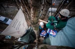 Die Baumbesetzung gegen den Ausbau der A100 dauert an