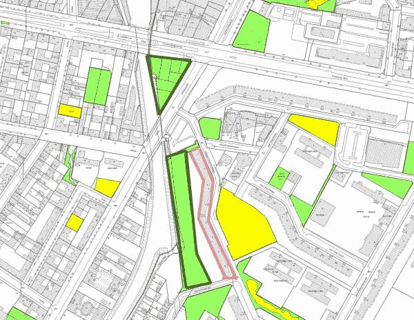 Lageplan Grünflächen - Auszug aus Grünflächenplan des Senats - Geoportal Berlin, 11.12.2015