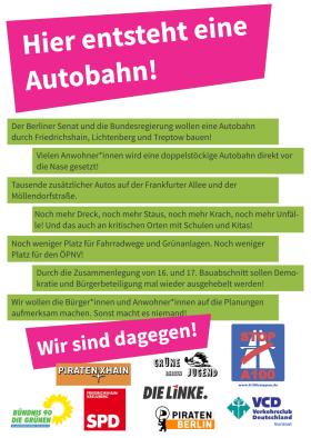 Flyer Hier entsteht eine Autobahn! und Aufrufende zur Rad-Skater-Demo am 18.6.2016