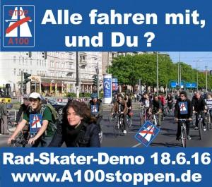 Rad-Skater-Demo am 18.6.2016 um 14 Uhr: Keine Autobahn durch Treptow, Friedrichshain & Lichtenberg!
