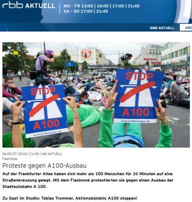 rbb Aktuell vom 9.7.2016: Flashmob - Proteste gegen A100-Ausbau