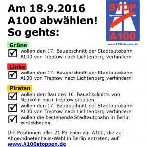 Abgeordnetenhauswahl in Berlin am 18.9.2016 Stadtautobahn A100 abwählen! So gehts: