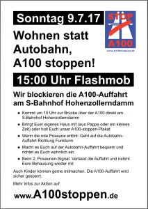 Flashmob Wohnen statt Autobahn, A100 stoppen am 9.7.2017 Autobahn-Auffahrt Berlin-Hohenzollerndamm