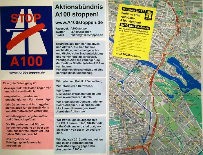 Aktionsbündnis A100 stoppen am 26.6.2017 beim Ideenmarkt + Stadtforum Berlin