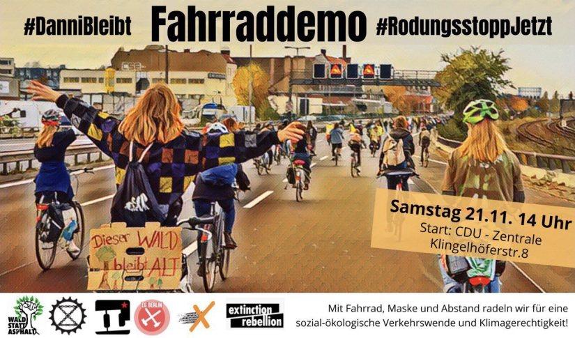 Fahrraddemo Danni bleibt, Rodungsstopp jetzt! am 21.11.2020
