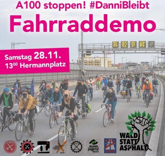 Fahrraddemo A100 stoppen, Danni bleibt am 28.11.2020