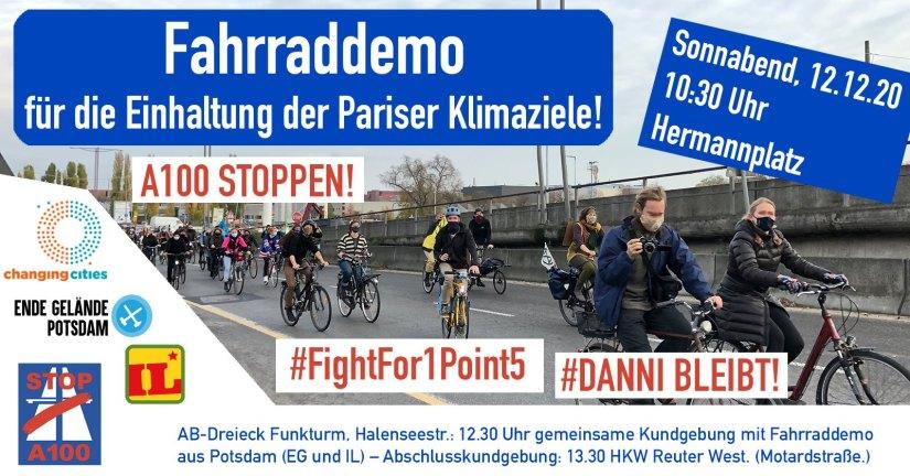 Fahrraddemo am 12.12.2020 auf der Autobahn für die Einhaltung der Pariser Klimaziele!