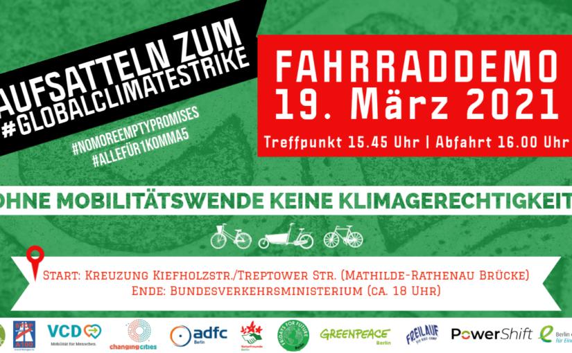 Fahrraddemo am 19.03.2021: Ohne Mobilitätswende keine Klimagerechtigkeit + Open-Air-Kino