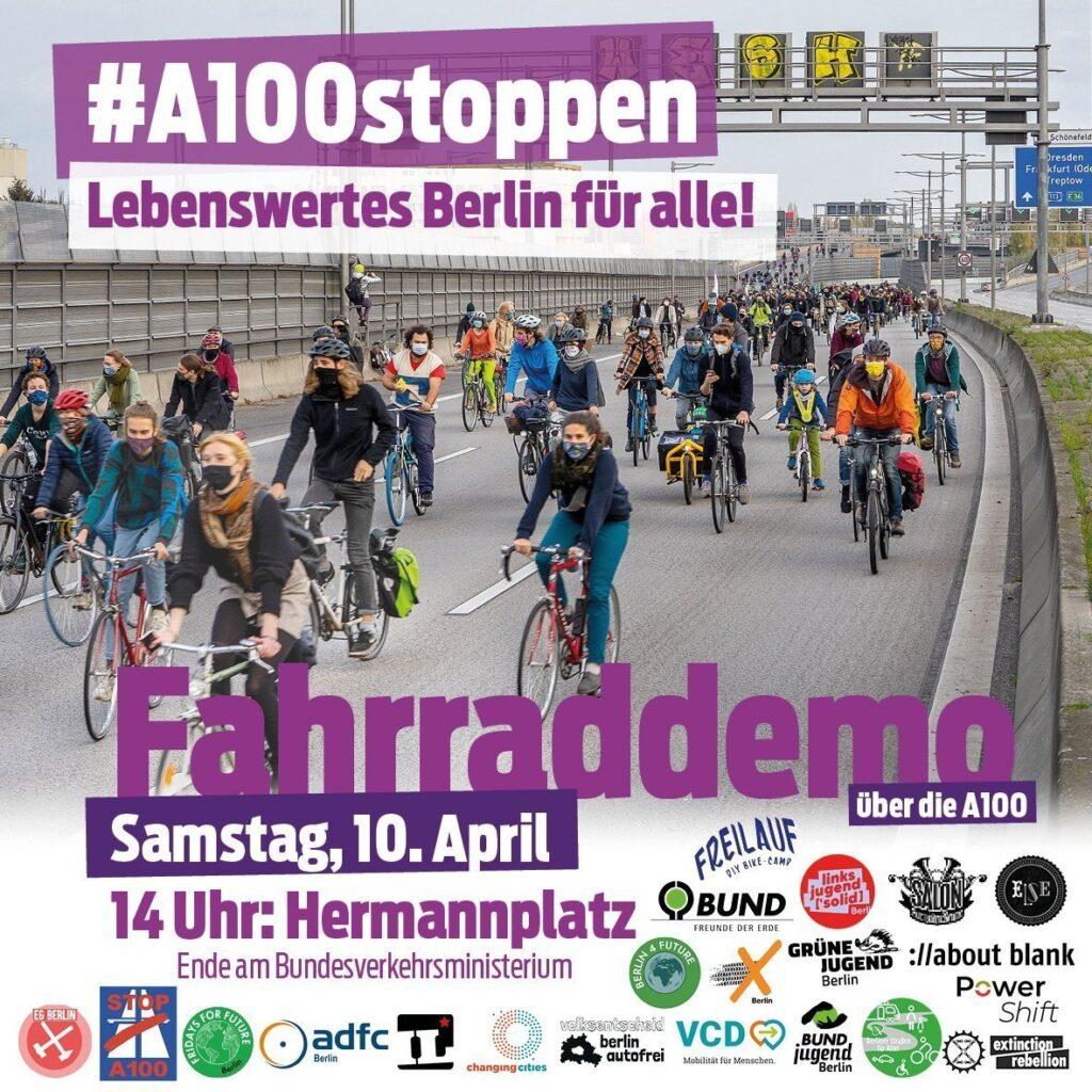 Fahrraddemo für die Mobilitätswende und gegen den Weiterbau der A100