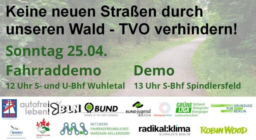 Demonstrationen am 25.4.2021: Keine neuen Straßen durch unseren Wald – TVO verhindern!