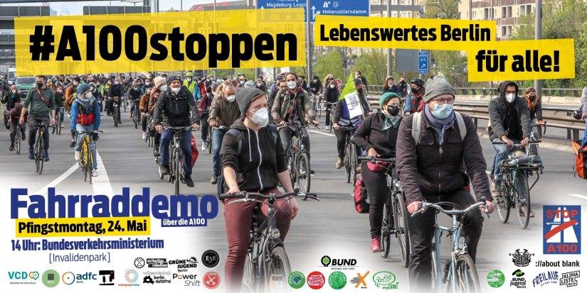 #A100stoppen – lebenswertes Berlin für alle! Fahrrad-Demo über die Stadtautobahn am Pfingstmontag, 24.05.2021