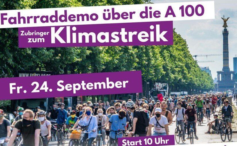 #A100stoppen: Fahrrad-Demo über die A100 am 24.9.2021